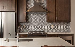 Cementine Tiled Kitchen Backsplash, Quartz Countertop