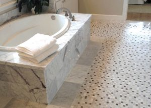 bath floor custom small tile