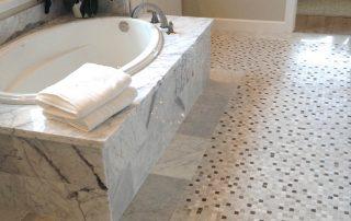 Custom tiled Bath with small ceramic tiles
