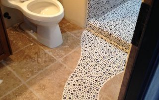 Custom bath floor tile path