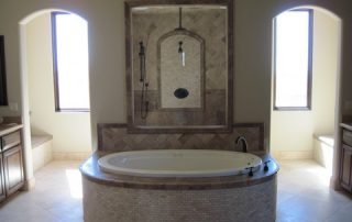 travertine bath and granite