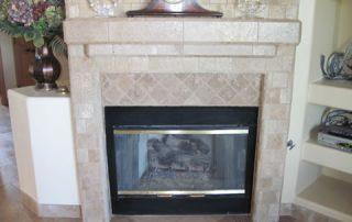 Custom Travertine fireplace