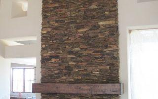 Custom Stone and Wood Fireplace