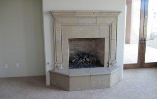 Decorative Travertine Fireplace