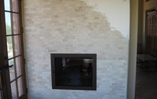 Travertine Tiled fireplace
