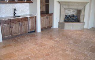 Custom Floor with Custom Fireplace & Wet Bar