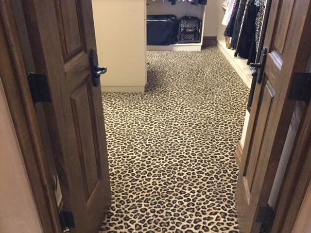 Fun Animal-Print Carpet on Closet floor