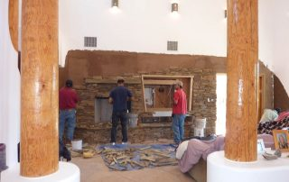 Living Room Stone Wall During Installation