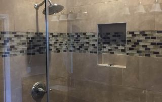 Porcelain Tile shower with Deco Band