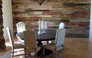 Reclaimed Wood Wall and Flagstone Floor Dining Area