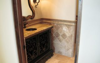 Tavertine Tile, Border with Granite Vanity Top