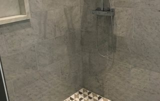 Tile Shower - Modern, Clean Lines, with Deco Tile Floor