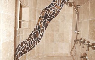 Travertine Shower with stone inlay design
