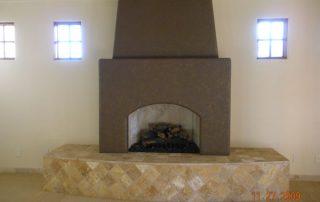 Travertine fireplace and Frieze carpet