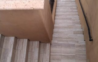 Wood-look tile outdoor deck stairs