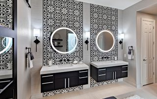 Painted Tile Feature Wall Vanity by Carefree Floors, Inc. Designed by Mongrel Design Interiors