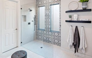 Painted Tile Shower Enclosure designed by Mongrel Design Interiors for Carefree Floors, Inc