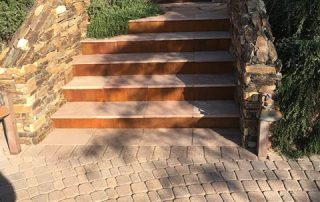 Paver, Flagstone Entry Steps with Rusted Metal Risers